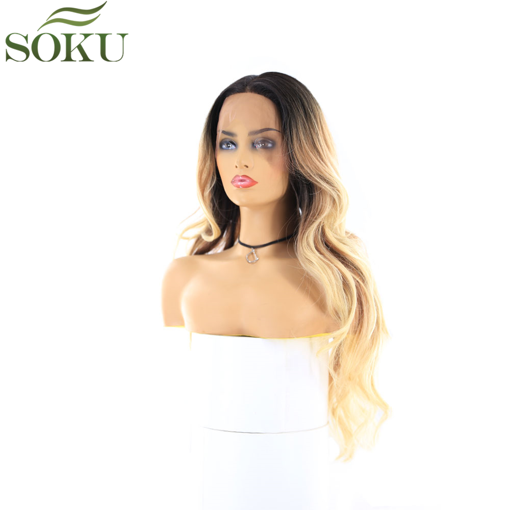 Image 2 - Synthetic Lace Front Wigs With Baby Hair For Black Women SOKU Ombre Color Long Wavy Wigs Glueless Heat Resistant Fiber Wig-in Synthetic Lace Wigs from Hair Extensions & Wigs
