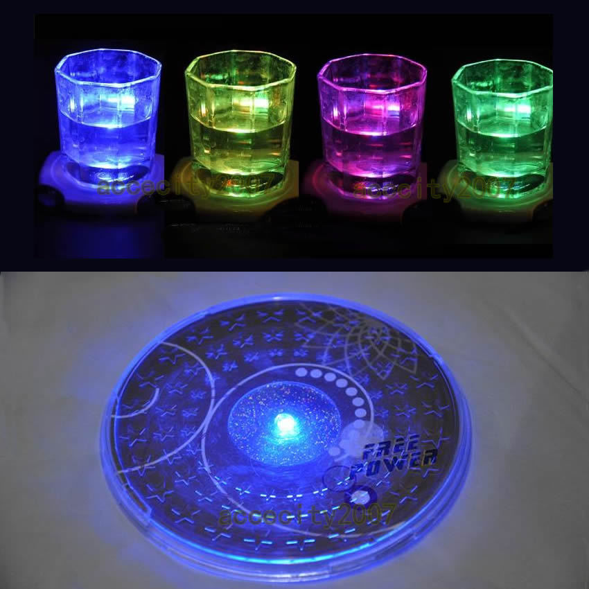 1X LED Coaster Color Change Light Up Drink Cup Mat Tableware Glow Bar Club Party Dropshipping