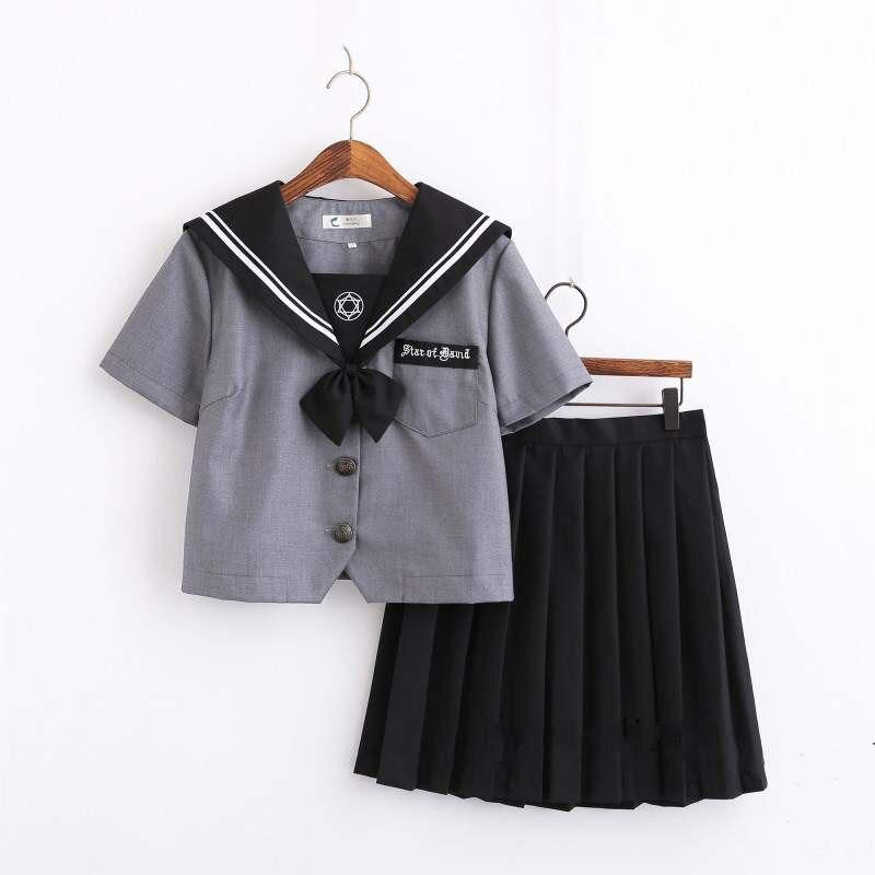 Dark Magic COS Japanese Girls Uniform Gray Shirt Dark Pleated Skirt Sailor Suits Novelty Women Preppy School Wear