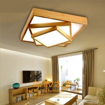 固体木製リビングルームledランプ長方形の寝室創作料理レストランランプ北欧アート中国風の天井ランプza MZ44