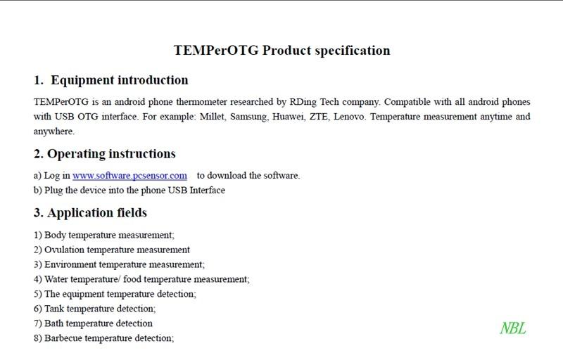 100% Original Multifunction Android Phone Temperature Sensor