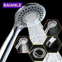 Three Function ABS Chrome Finish Bathroom Shower Water Saving High Pressure Shower Head Round Shape Hand