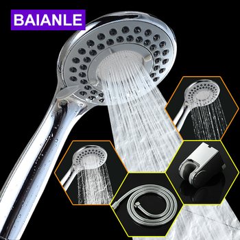 Bathroom Shower Head Wall Mounted 3 Modes ABS Plastic Chrome High Pressure Water Saving Round Hand Helds Set  Choose