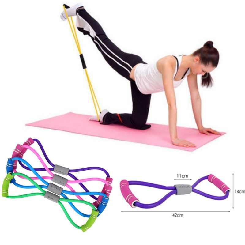 2019 Hot Yoga Gum Fitness Resistance 8 słowo Chest Expander Rope Workout Muscle Fitness guma elastyczna opaska do ćwiczeń sportowych