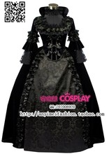 New Arrival Victorian Dress Gothic Renaissance Costumes Black Satin For Halloween