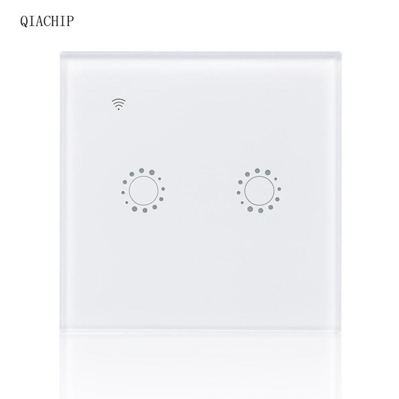 WiFi Smart Switch 2 Gang Light Wall Switch APP Remote Scene APP Remote Control Google Home Supported Share Control EU Plug Z2 qiachip wireless 2 4g wifi smart uk plug switch 3 gang light wall switch app remote control share control manual control panel