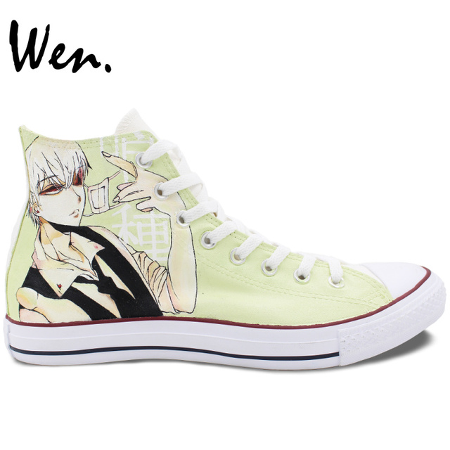 WEN Custom Design Hand Painted Anime Shoes Tokyo Ghouls High Top Men Womens Canvas Sneakers Birthday Gifts Presents