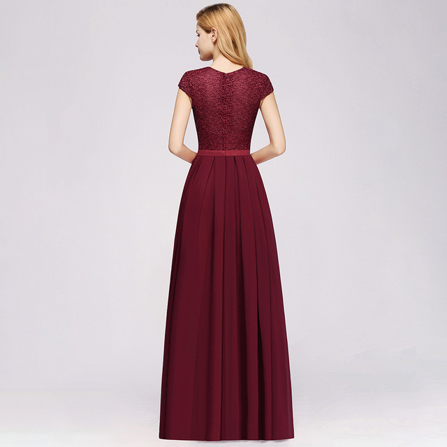 Charming Burgundy Lace Chiffon Long Evening Dress 2019 Elegant Short Sleeve Evening Party Dresses Formal Evening Gowns 1