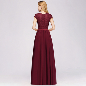 Image 2 - Charming Burgundy Lace Chiffon Long Evening Dress 2019 Elegant Short Sleeve Evening Party Dresses Formal Evening Gowns