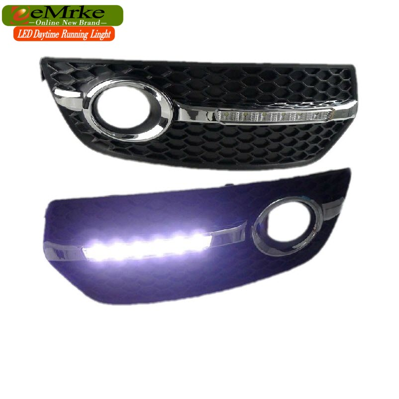 eeMrke Car LED DRL For Audi Q5 2010 2011 2012 High Power Xenon White Fog Cover Daytime Running Lights Kits lovely 4 colors kids baby crochet knit cap knitting winter warm beret hat cap bb75