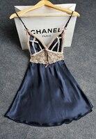 Sexy Nightgown Lingerie Fashion women Nightdress Satin Nightwear Silk Slip Sleepwear Chemises