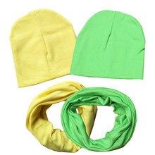 Новые однотонные хлопковые детские комплекты с круглым вырезом, воротники Шапки Одежда для мальчиков и девочек шейный платок, шапочки, Детские шарфы с отделкой, кепки, аксессуары