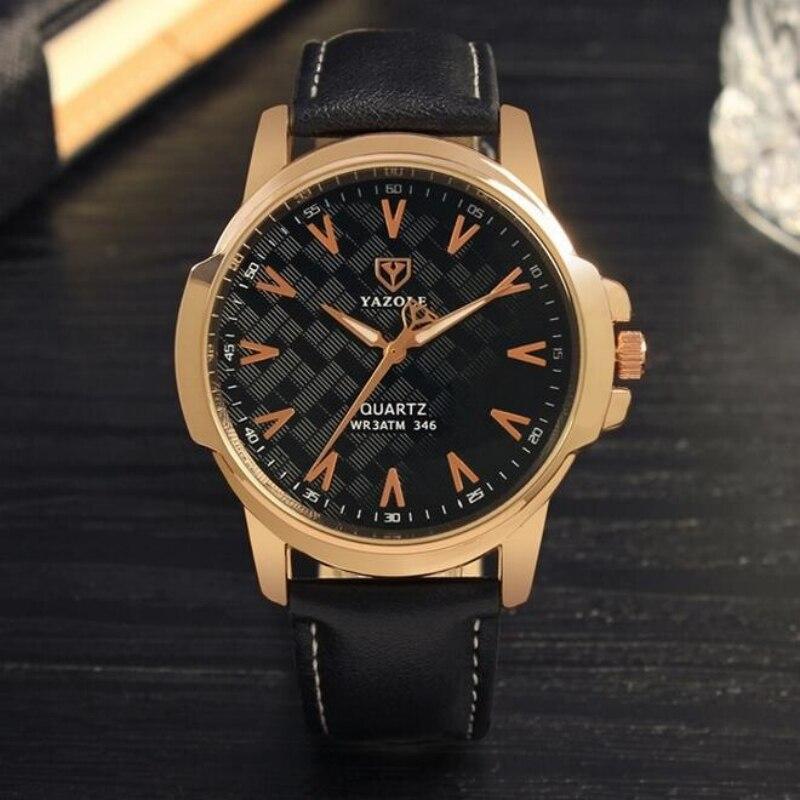 YAZOLE Роскошные Золотые Часы Модного Бизнеса Часы Мужчины Часы Водонепроницаемый Кожаный Ремешок мужские Часы Световой Часы эркек кол саати