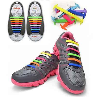 12Pc אופנה ספורט ריצה אין שרוכי אלסטי סיליקון נעל תחרה יוניסקס נשים גברים סניקרס Fit רצועת בלי עניבה