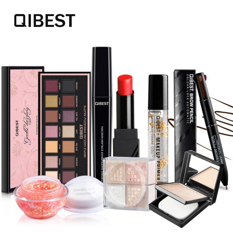 QIBEST Makeup set 8pc/kit shimmer Eyeshadow &Mascara&Fiber Eyelash &Foundation&Eyebrow&Loose powder&Glitter Highlight&Lipstick