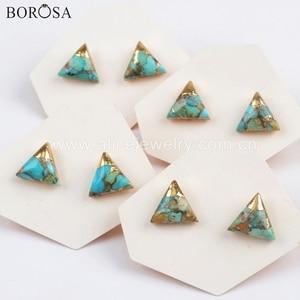 Image 4 - Borosa 5 pares boho turquesa studs 10mm banhado a ouro quadrado triângulo redondo natural turquesa brincos artesanal senhora presentes g1723