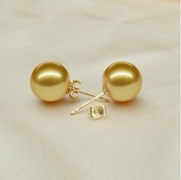 925 silver real natural big Natural seawater, Nanyang gold pearl earrings, 925 white nail earrings, anti allergy special anime