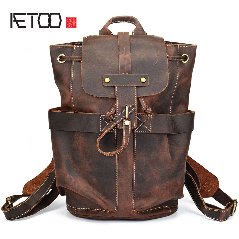 AETOO Crazy horse skin men bag backpack leather head cow layer skin men backpack Europe and the United States style backpack europe and the united states simple geometric pattern hand bag head layer of leather in the long wallet multi card large capacit