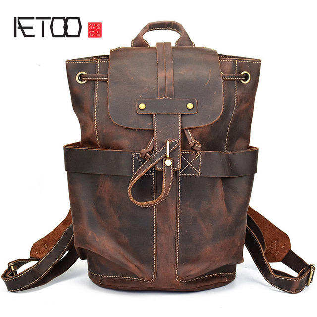 640b4c8f5f89 AETOO Crazy horse skin men bag backpack leather head cow layer skin men  backpack Europe and the United States style backpack