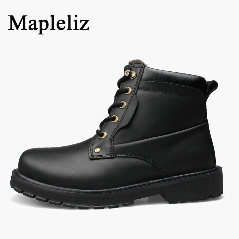 Mapleliz Brand Handmade Genuine Leather High Quality Round Toe Winter Keep Warm Boots For Men Solid Lace-Up Sewing Ankle Boots электрический шкаф siemens hb23ab520r серебристый