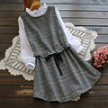 Spring Temperament Sweet Patchwork Dress Women Tie Thin Waist Stand Collar Plaid Cute Casual Vestidos Femininos Dress U598