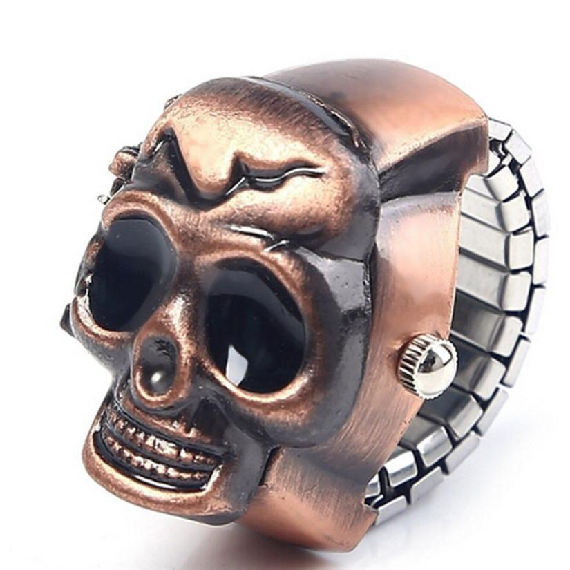 Women s Watch Clock Fashion Unisex Retro Vintage Finger Reloj Mujer Skull Ring Best Clamshell Colors