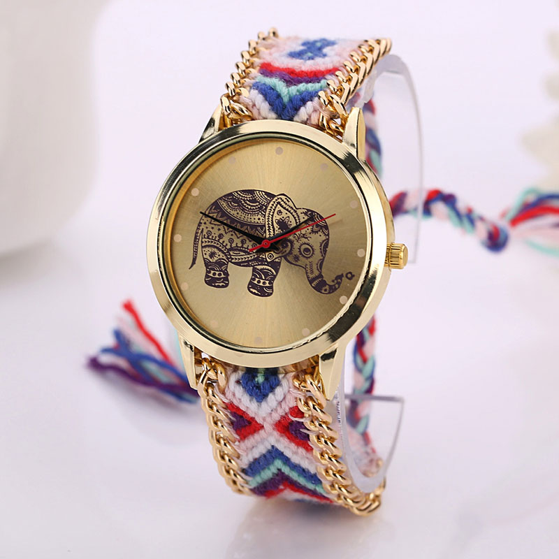 #5001 Fashion Leisure High Quality Man Watch Women Elephant Pattern Weaved Rope Band Bracelet Quartz Dialwatch Gift