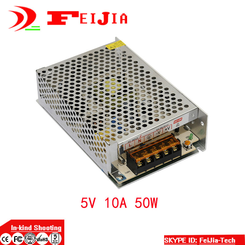 DC 5V 10A 50W Switching Power Supply Transformer for LED Strip Light Display 110V 220V AC to DC 5V ac 110v 220v to dc 5v 350w voltage transformer switch power supplies for led strip rainproof fy350w 5v