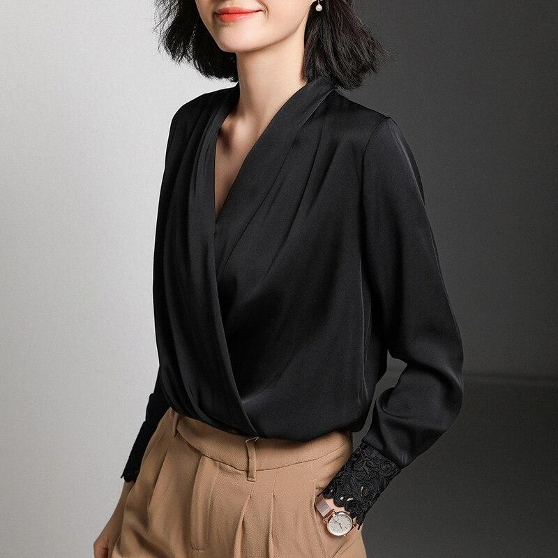 High End Ladies Natural Silk Tops And Blouses Elegant Embroidery Vintage V neck Beige Silk Shirt