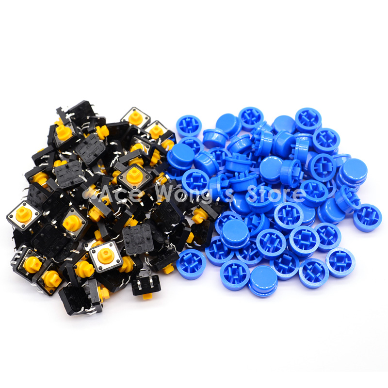 Free shipping,100PCS Tactile Push Button Switch Momentary 12*12*7.3MM Micro switch button + (100pcs Blue Tact Cap)