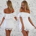 2017 sexy summer dress casual manga corta de la cintura elástico de las mujeres de cuello slash strapless gasa del cordón de las mujeres vestidos de playa vestidos