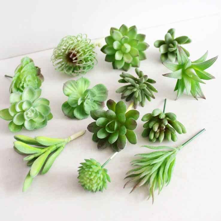 Baru Mini Buatan Succulent Tanaman Lanskap Lotus Rumput Dekoratif Fake Tanaman Plastik Rumah Meja Taman DIY Dekorasi Kaktus