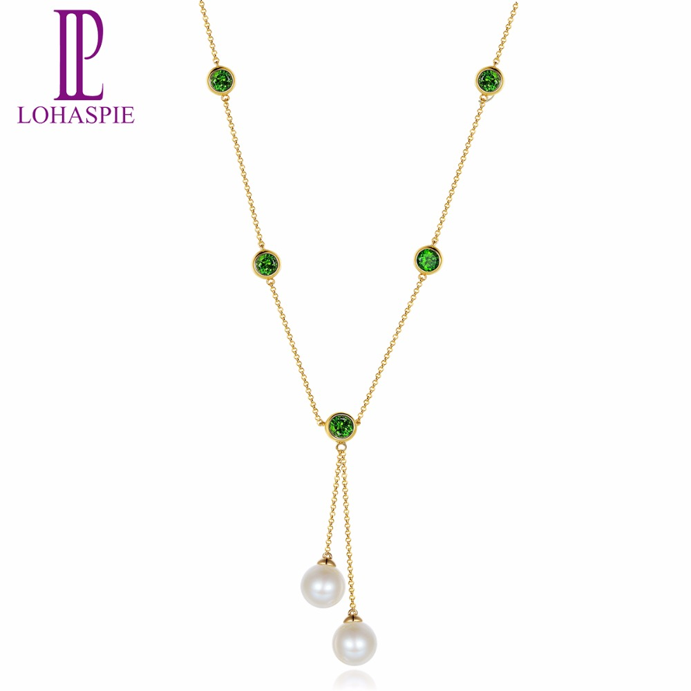 Lohaspie Pearl Jewelry Natural Chrome Diopside 18K Yellow Gold 18Inches Necklace Fine Fashion Stone Jewelry For Women's Gift