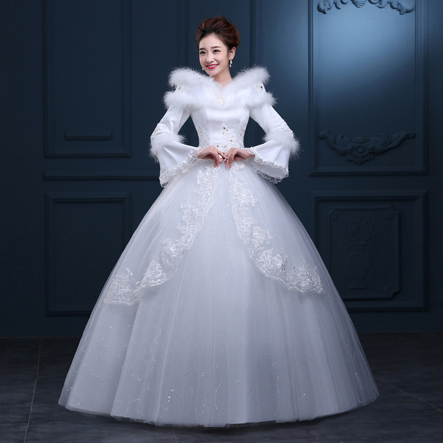 cda4253f452 NIXUANYUAN Free shipping Real Photo New High Collar Full Sleeves Winter  Wedding Dresses Plus Size Cheap Bride Frocks Bridal Gown
