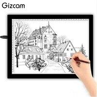 Gizcam Professional A4 LED Light USB Tracing Light Box Tattoo Board Drawing Pervious Pad Tools Kits Table Stencil Display Gift