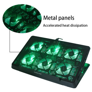 Image 2 - 6 LED Fan Cooling Pad Aluminum Laptop Cooler Pad Stand for 17 15.6 inch USB Cooler Notebook Base Holder Adjustable Speed