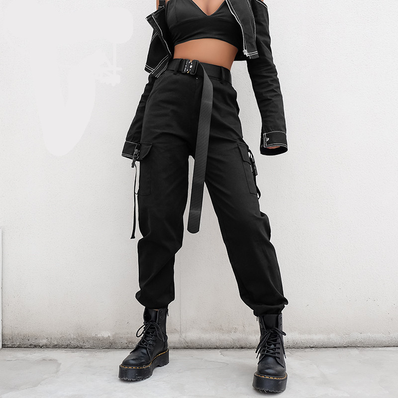 Streetwear Cargo Pants Women Casual Joggers Black High Waist Loose Female Trousers Korean Style Ladies Pants Capri(China)