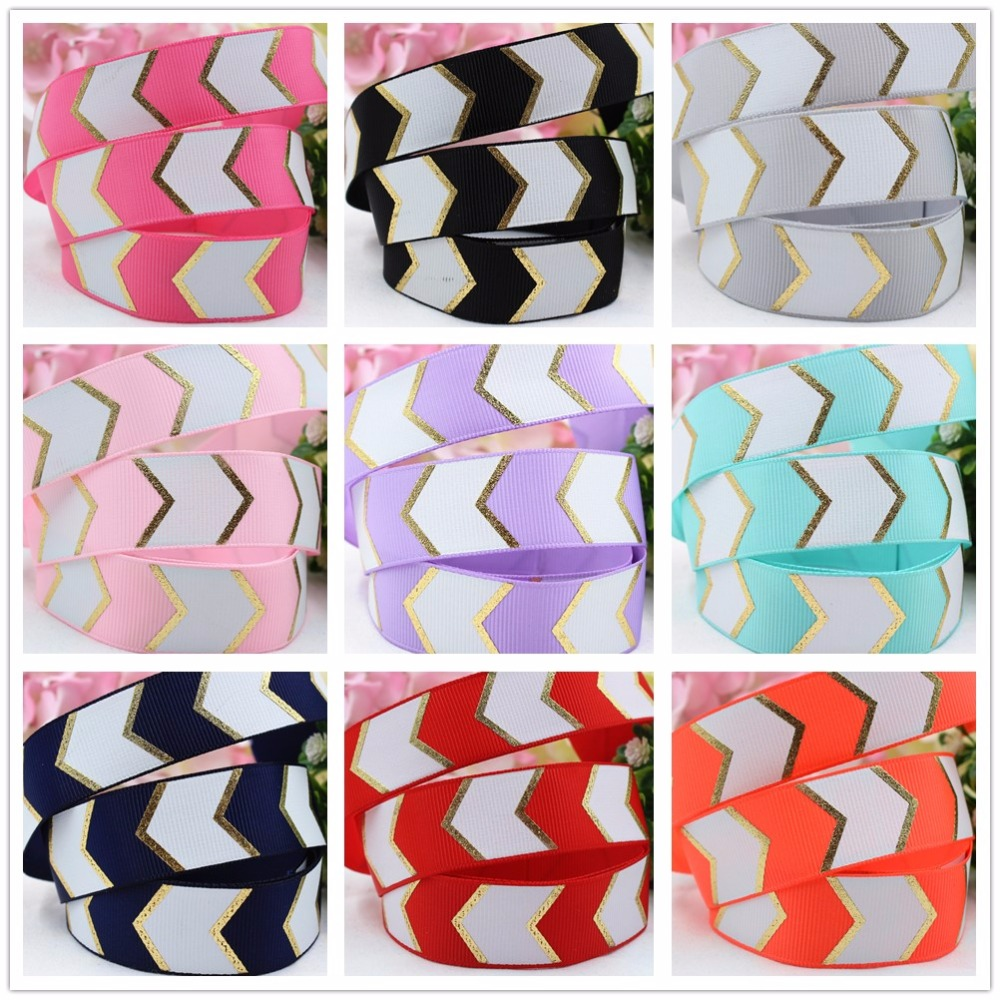165410 , free shipping 25MM hot gold wave Printed grosgrain ribbon, DIY handmadeHair accessories Material wedding gift wrap