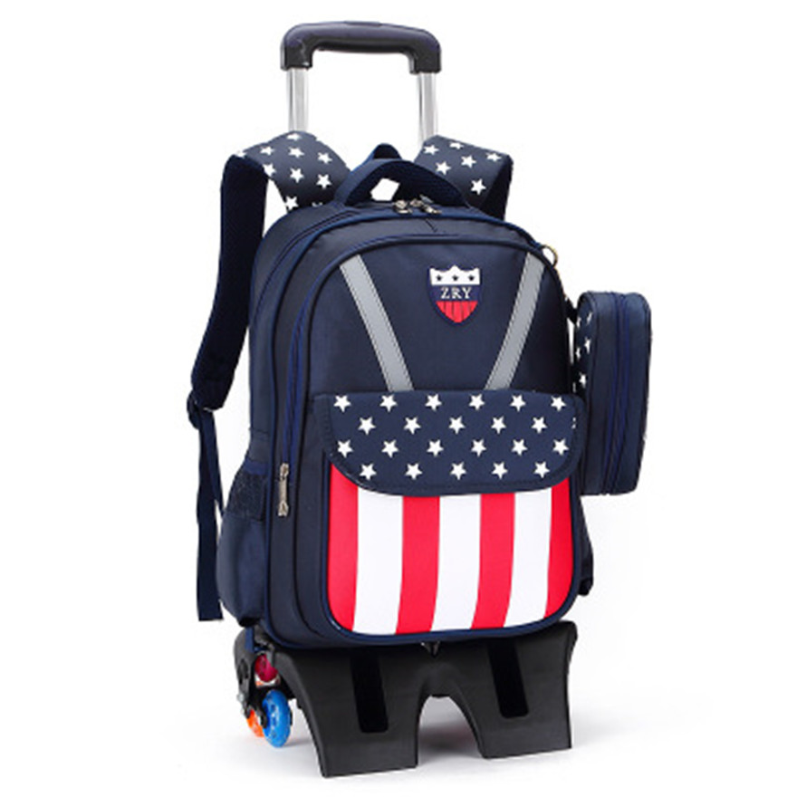 6 wheels Trolley schoolbag brand fashion backpack wheels teenagers book bags primary school bag girls boys gift travel Luggage