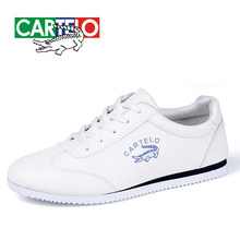 CARTELO Nieuwe Casual Schoenen Mannen Lederen Platte Schoenen Lace-up Low Top Sneakers Tenis Masculino(China)