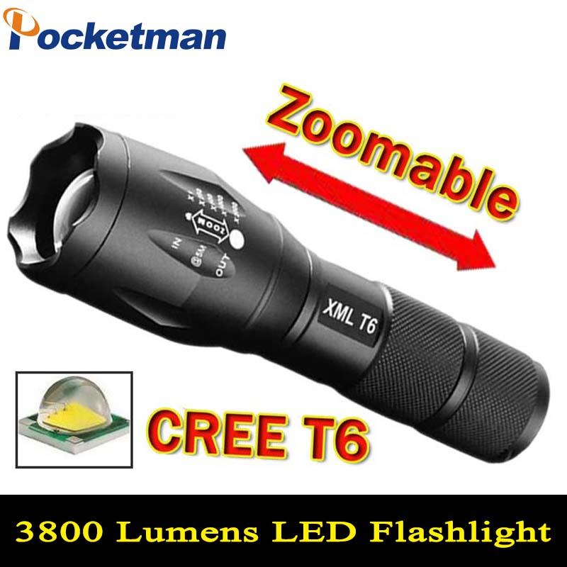 LED Flashlight 3800 Lumnes CREE XM-L T6 LED Tactical Flashlight Torch 5Mode Zoomable Flashlight Waterproof Torch Light lanternas cree xm l t6 bicycle light 6000lumens bike light 7modes torch zoomable led flashlight 18650 battery charger bicycle clip