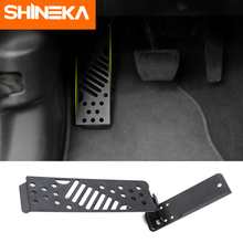 SHINEKA Pedals for Jeep Wrangler JL 2018 Metal Black Left Side Foot Rest Pedal Plate Decoration Cover Interior Mouldings