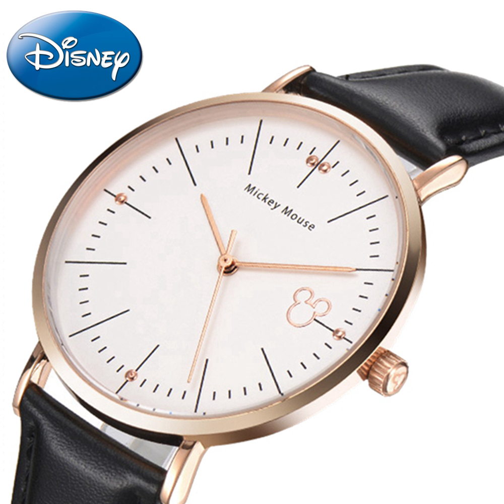 Mickey Mouse Men Ultrathin Fashion Simple Genuine Leather Quartz Round Waterproof Origin ...