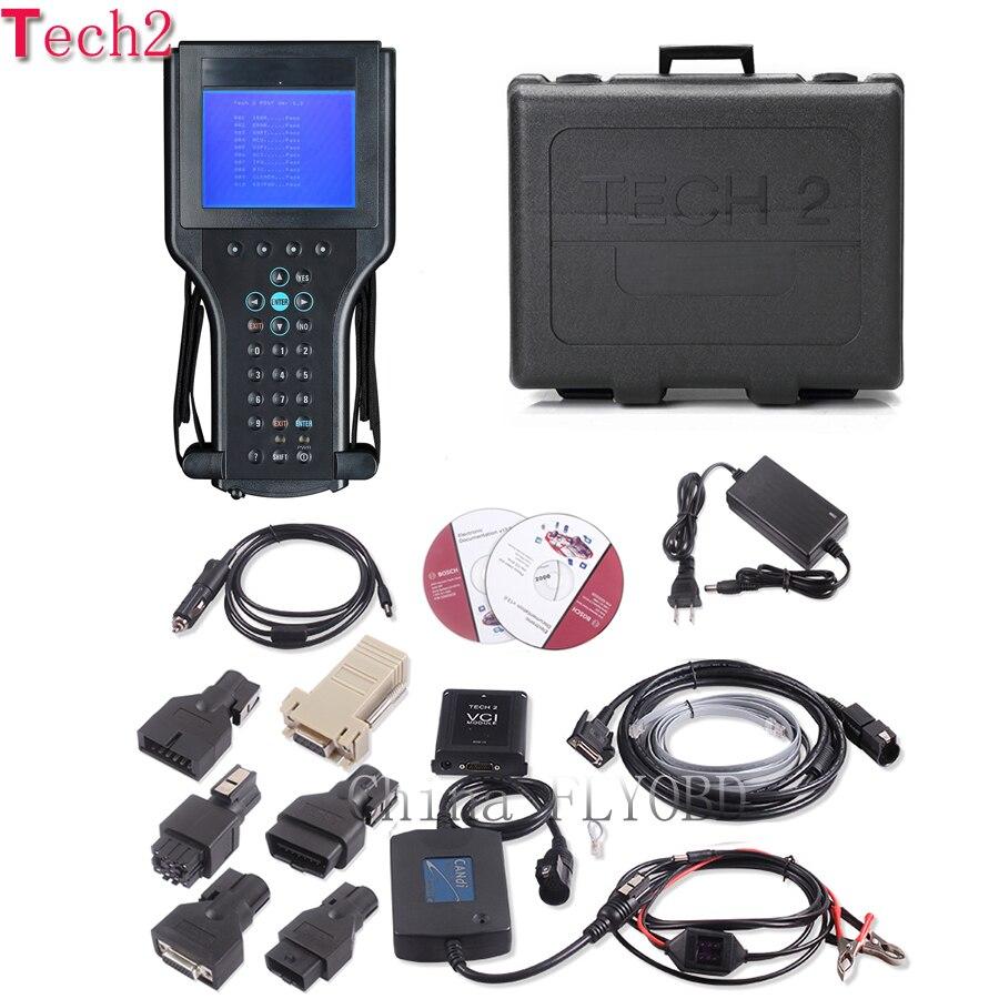 Top Qualité tech2 outil de diagnostic avec 32 mb tech 2 logiciel carte Mémoire pour 6 marque véhicules opel tech2 scanner avec boîte en plastique