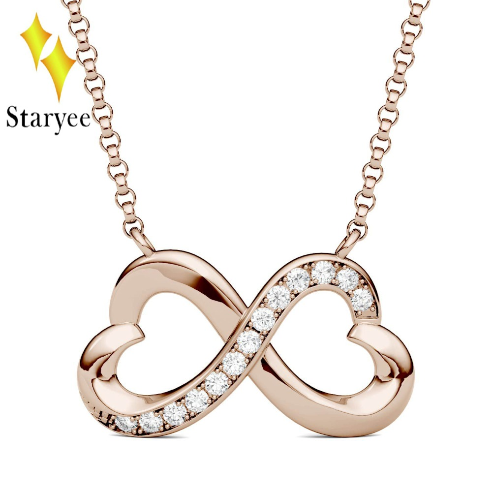 Test Positive Forever One Charles Colvard 0.12CTW Round Cut Moissanite Infinity Heart Necklace with Real 18K Solid Rose Gold yoursfs heart necklace for mother s day with round austria crystal gift 18k white gold plated