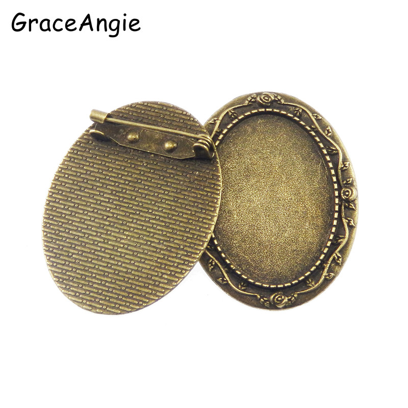 5pcs/pack Women Antique Bronze Alloy Oval Brooch Pins Cameo Cabochon Base Charm Vintage Craft Jewelry Making 45*35*2mm 50262