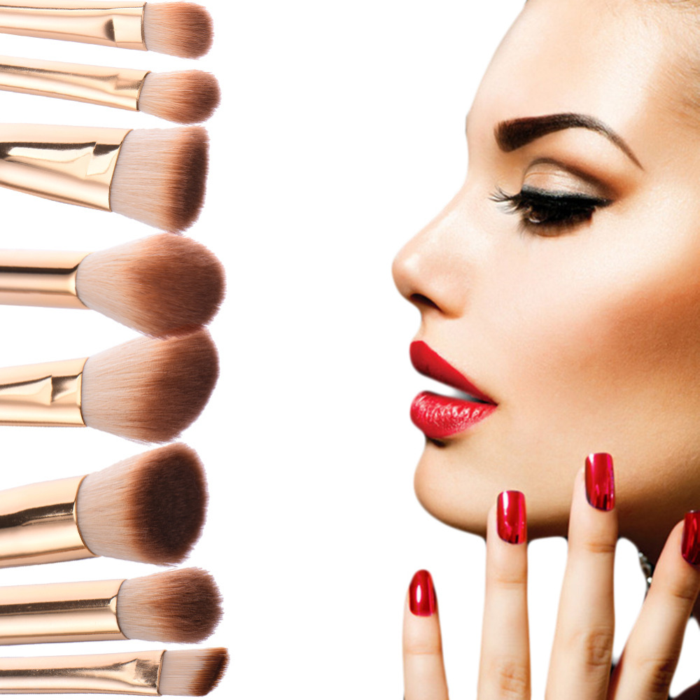 Bamboo Handle Makeup Brush Set Pro High Quality Makeup Brushes 8pcs Foundation Powder Blush Eyeshadow Blend
