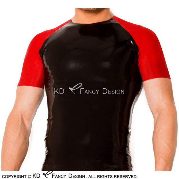 Black With Red Trims Sexy Latex <font><b>Shirt</b></font> With Half Sleeves Rubber Clothings Tee <font><b>Shirt</b></font> YF-0105 image