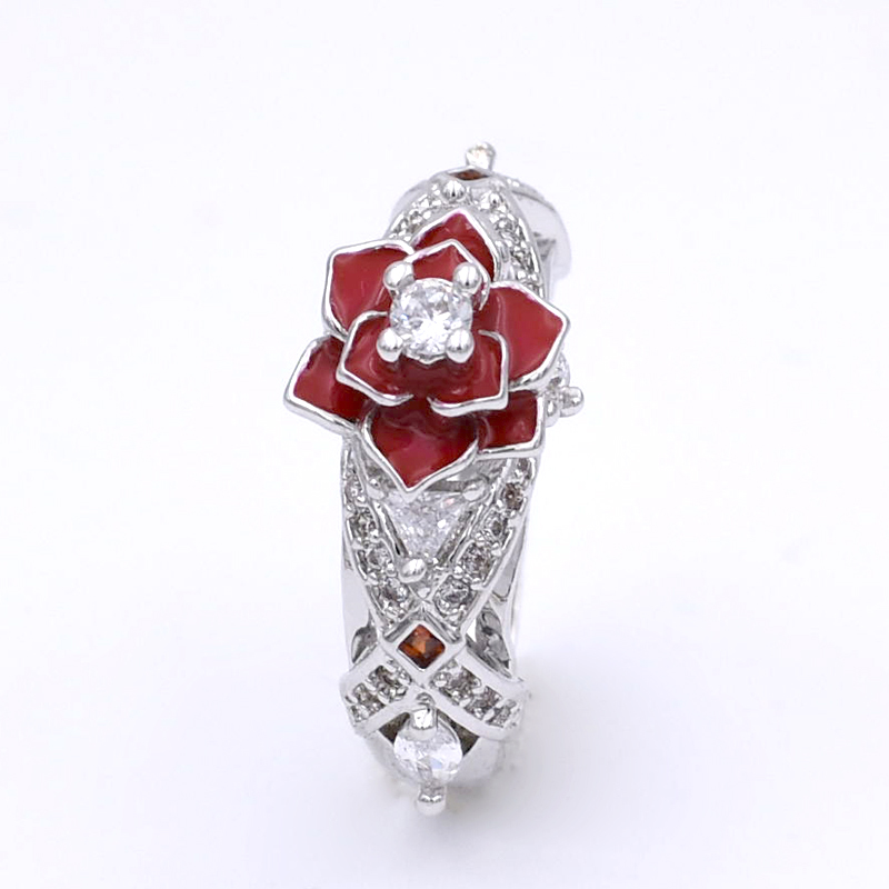 Floral Two Tone Promise Rose Women Ring with White and Red Zircon Fashion Charming Flower Wedding Rings Jewelry bague femme charming red rhinestone alloy ring for women