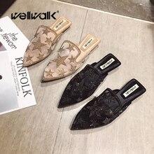 Wellwalk Glitter Mules Shoes Women Flat Crystal Star Slippers Ladies Breathable Mesh Slides Woman Slip On Loafers Pointed Toe цены онлайн